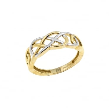 9ct 2 Colour Gold Celtic Ring Size P