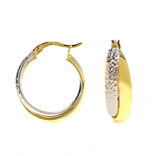 9ct 2 Colour Gold Diamond Cut Creoles
