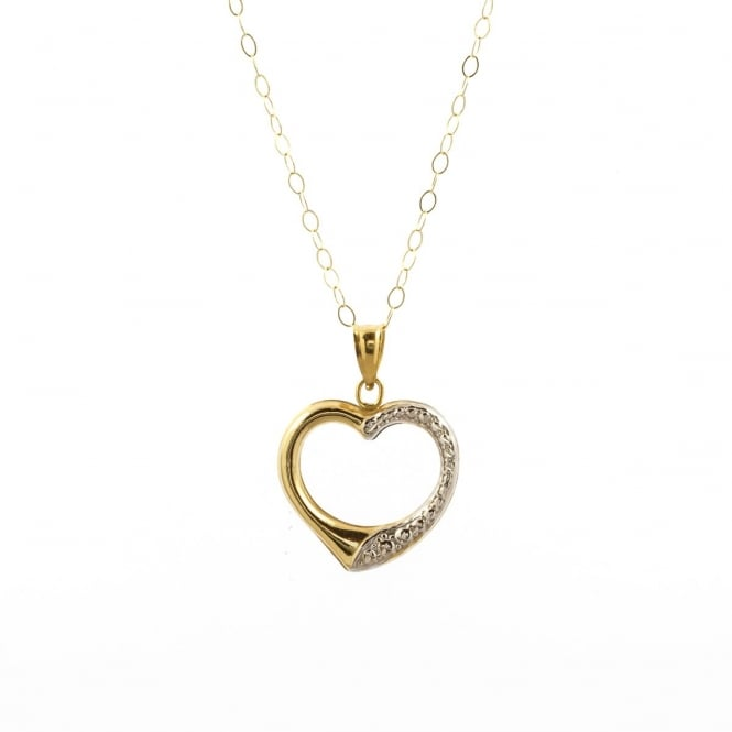 9ct 2 Colour Gold Open Heart Pendant and 16'' Trace Chain