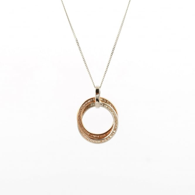 9ct 2 Colour White & Rose Gold Cubic Zirconia Set Double Round Pendant and 18'' Curb Chain