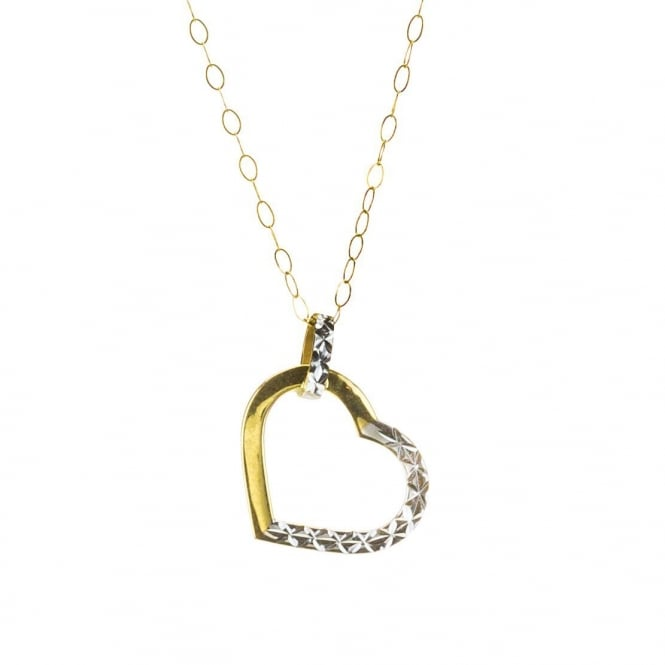 9ct 2 Colour Yellow & White Gold Diamond Cut Heart Pendant and 16'' Trace Chain