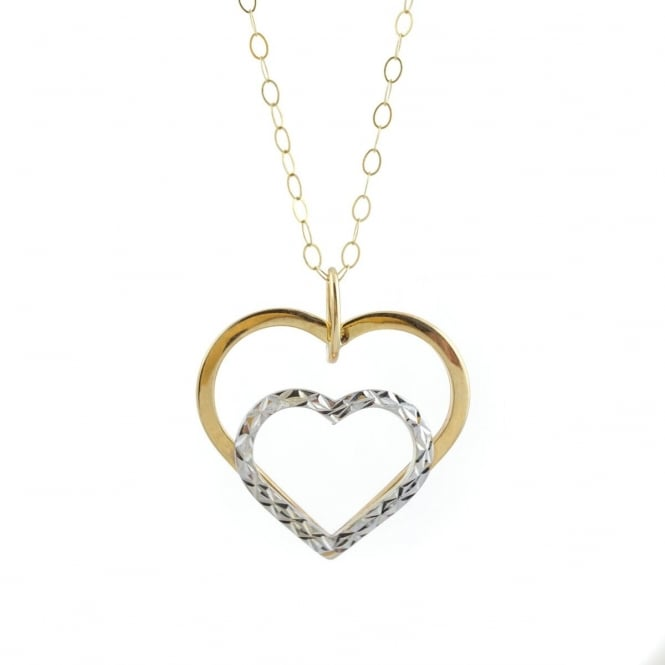 9ct 2 Colour Yellow & White Gold Heart Pendant and 16'' Trace Chain