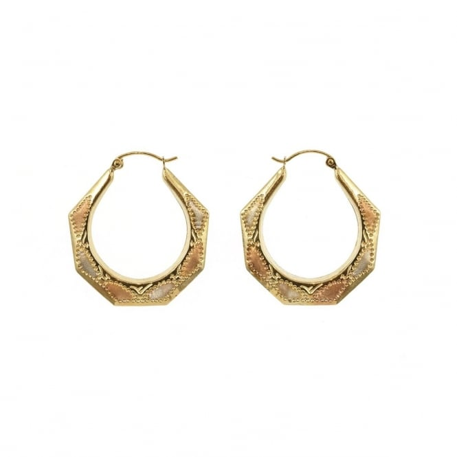 9ct 3 Colour Gold Hectagonal Creole Earrings