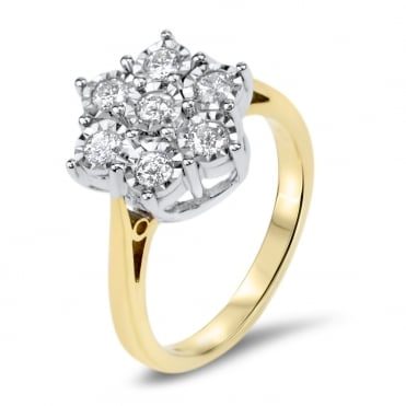 9ct Gold 1/4 Carat Diamond Floral Cluster Ring