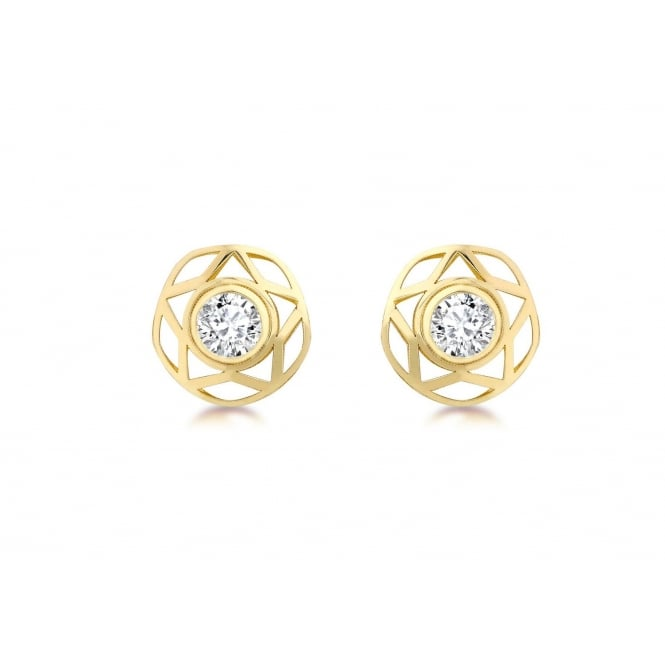 9ct Gold 10mm Cubic Zirconia and Star Stud Earrings