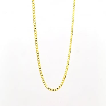 9ct Gold 20'' Open Diamond Cut Solid Curb Chain