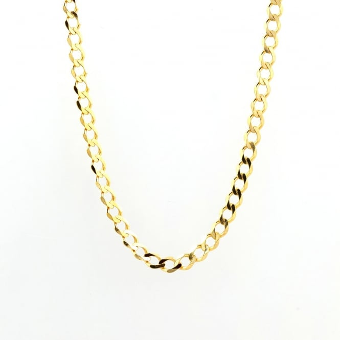 9ct Gold 24'' Mens Heavy Diamond Cut Curb Chain