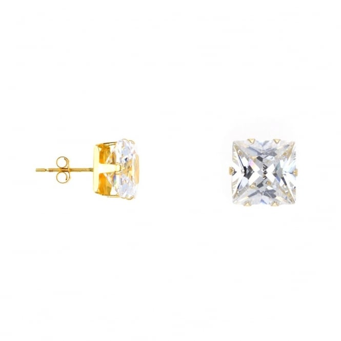 9ct Gold 8mm Square Cubic Zirconia Stud Earrings