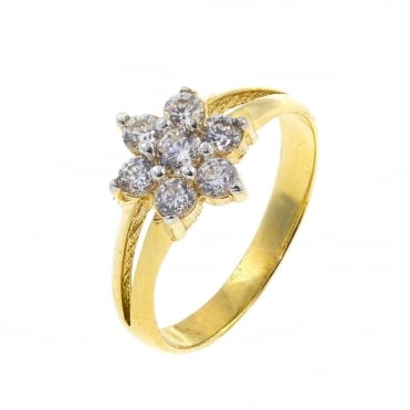 9ct Gold Child Cubic Zirconia Cluster Ring Size F