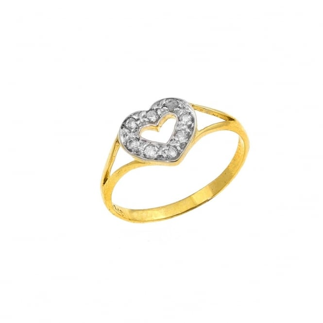 9ct Gold Childs Cubic Zirconia Heart Ring Size F