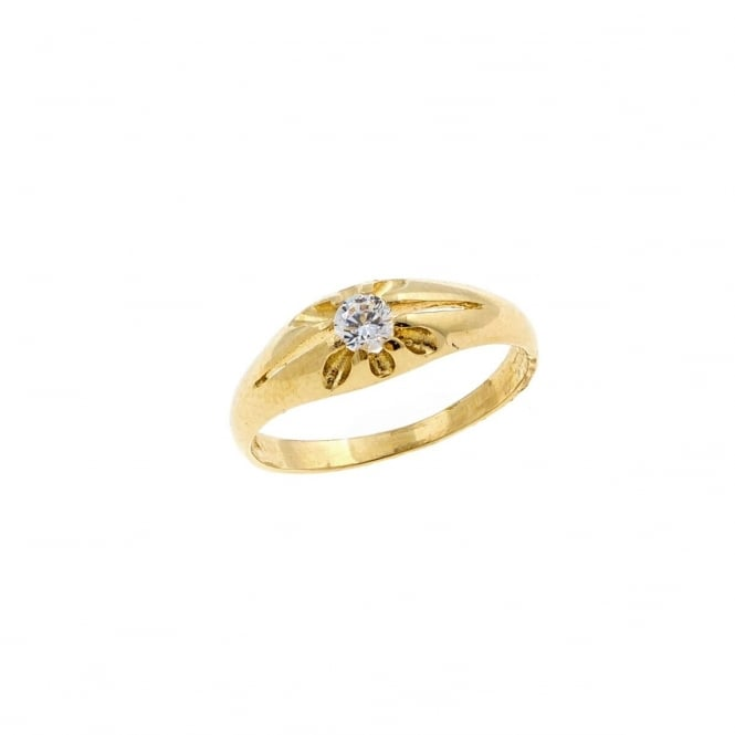 9ct Gold Childs Cubic Zirconia Solitaire Ring Size I