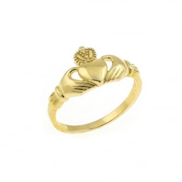 9ct Gold Claddagh Ring Size L