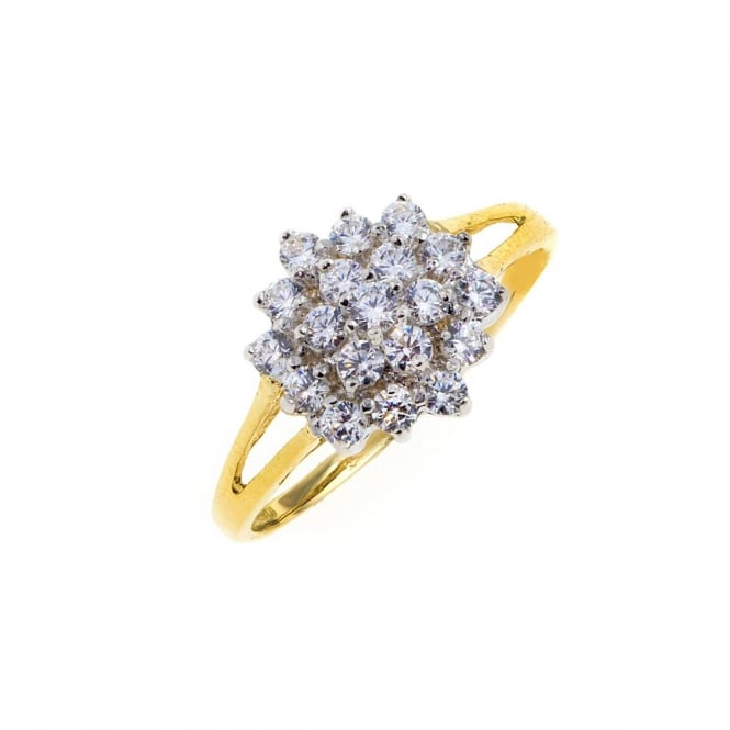 9ct Gold Cubic Zirconia Cluster Ring Size M