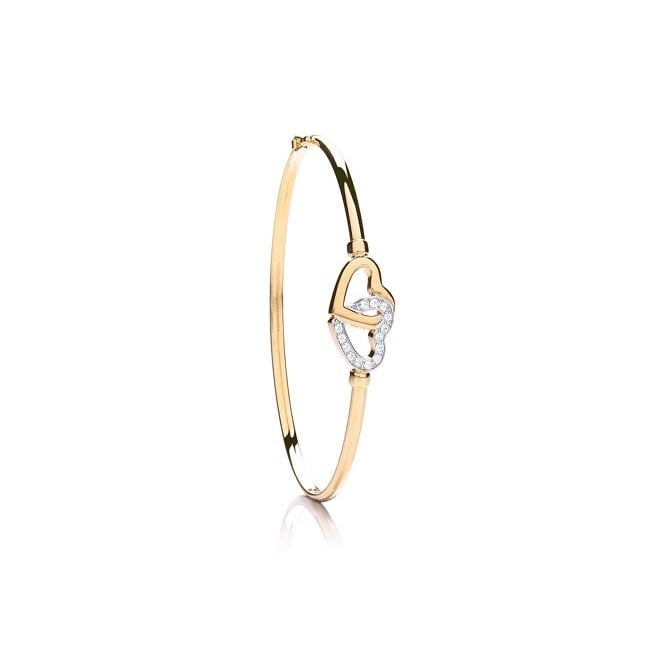 9ct Gold Cubic Zirconia Entwined Heart Bangle