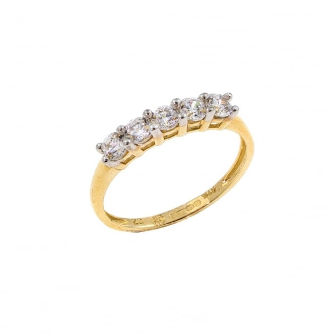 Eternity 9ct Gold Cubic Zirconia Ring Size Q