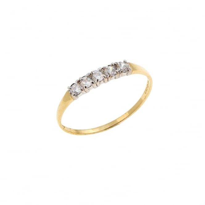 Eternity 9ct Gold Cubic Zirconia Ring Size S