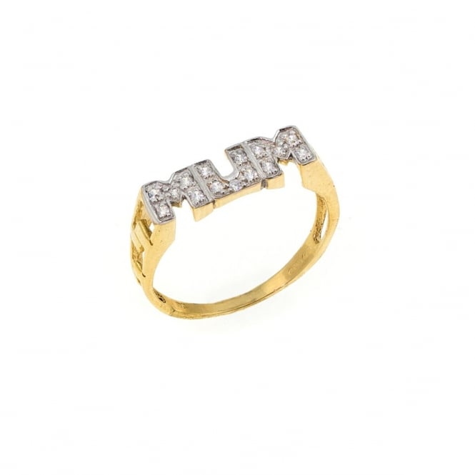9ct Gold Cubic Zirconia Mum Ring Size L