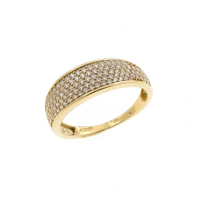 9ct Gold Cubic Zirconia Pave Ring Size M