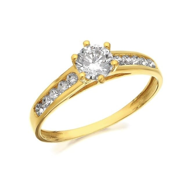9ct Gold Cubic Zirconia Soitaire and Shoulder Ring Size R