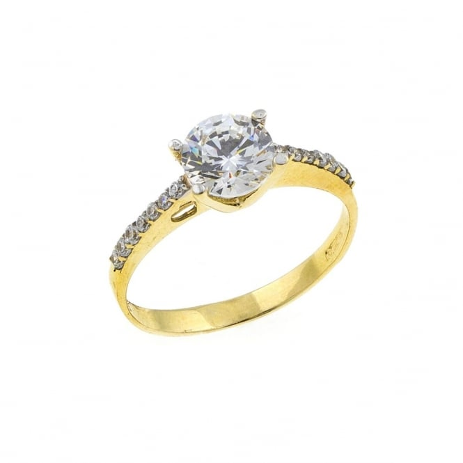 9ct Gold Cubic Zirconia Solitaire and Shoulder Set Ring Size P