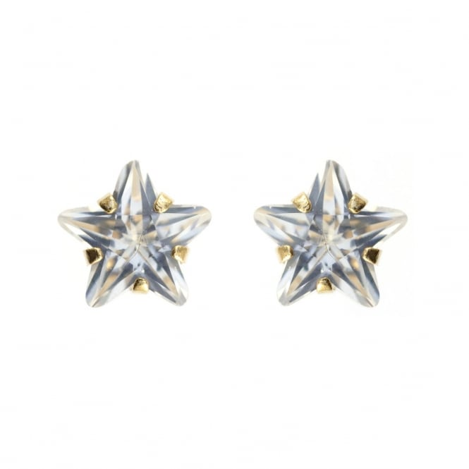 9ct Gold Cubic Zirconia Star Stud Earrings