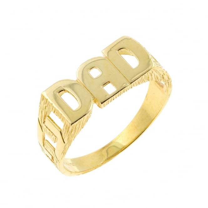 9ct Gold Dad Ring Size R