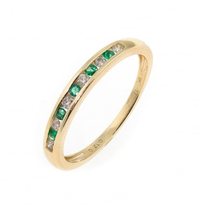 Eternity 9ct Gold Emerald and Diamond Ring