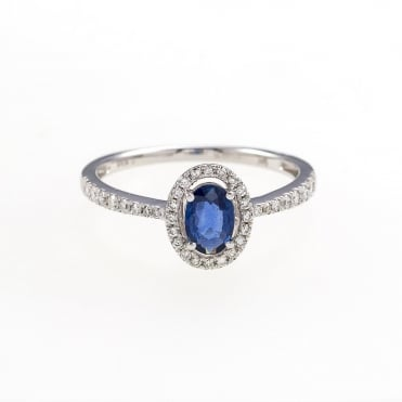 9ct Gold Oval Sapphire Diamond Halo Cluster Ring