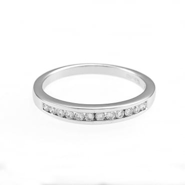 9ct White Gold 1/4 Carat Diamond 1/2 Eternity Ring