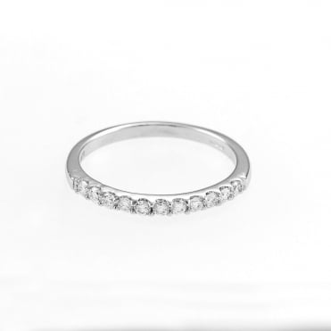 9ct White Gold Diamond 1/4 Carat Half Eternity Ring