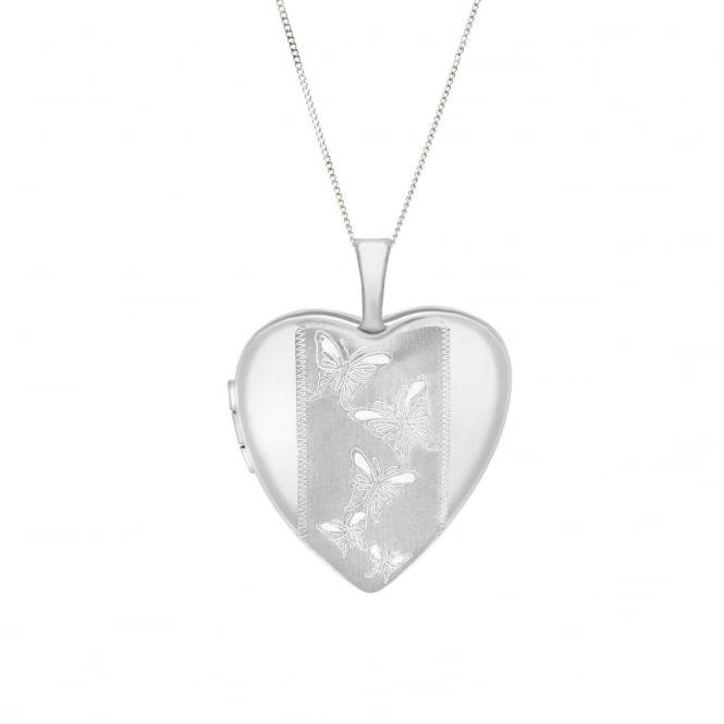 """9ct White Gold Heart Engraved Butterfly Locket and 18"""" Curb Chain"""