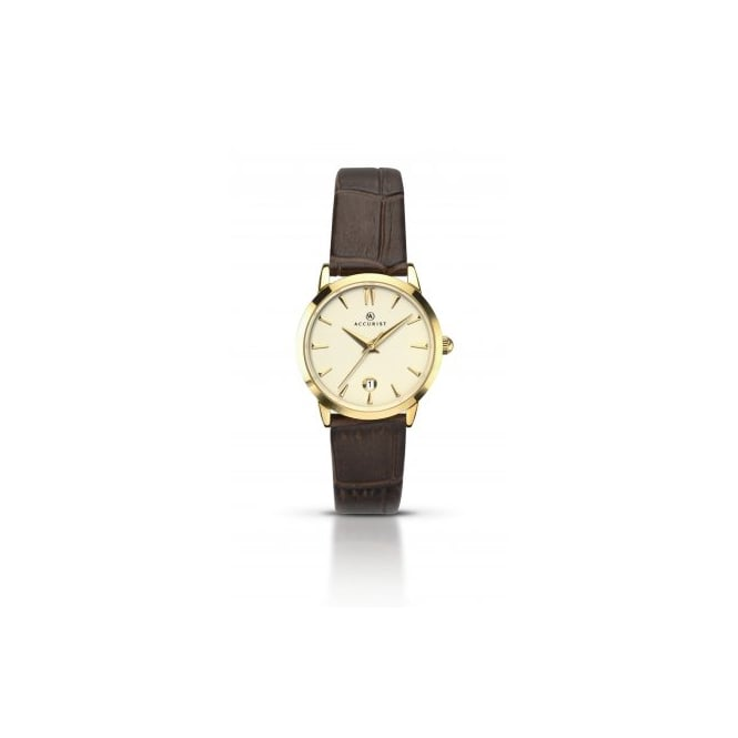 Accurist Ladies Round Champagne Dial with a Brown Strap