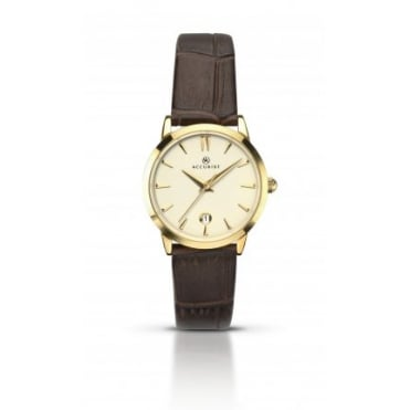 Ladies Round Champagne Dial with a Brown Strap