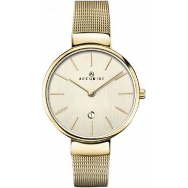 Ladies Round Champagne Dial with a Gold Plated Mesh Bracelet