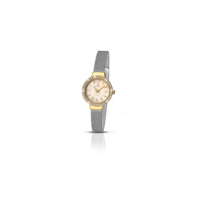 Accurist Ladies Round Mother of Pearl Dial and Gold Plated Stone Bezel with a Stainless Steel Mesh Bracelet