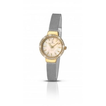 Ladies Round Mother of Pearl Dial and Gold Plated Stone Bezel with a Stainless Steel Mesh Bracelet