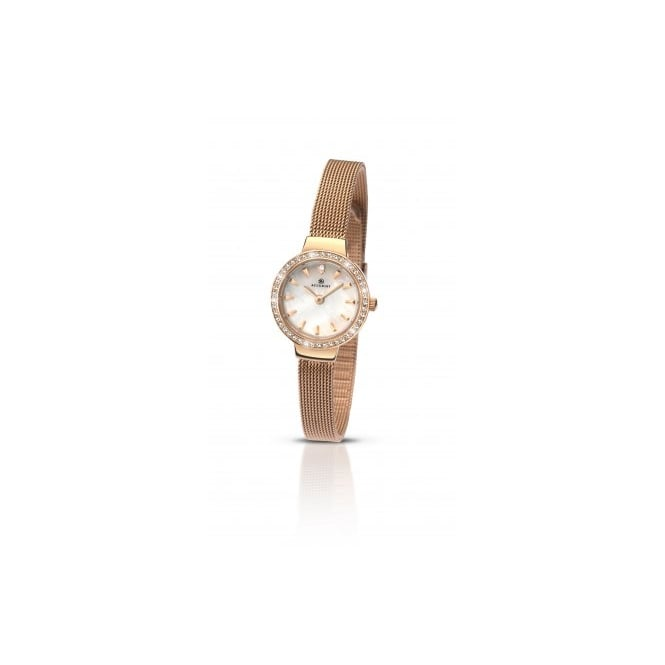 Accurist Ladies Round Mother of Pearl Dial and Rose Stone Bezel with a Rose Mesh Bracelet