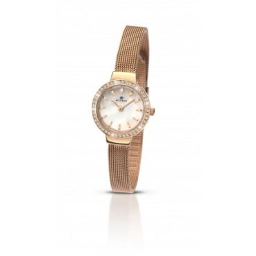 Ladies Round Mother of Pearl Dial and Rose Stone Bezel with a Rose Mesh Bracelet