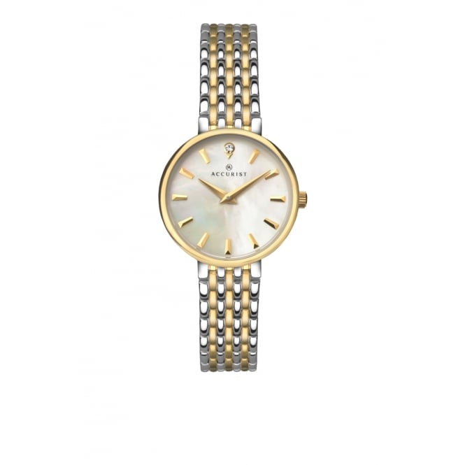 Accurist Ladies Round Mother of Pearl Dial with a 2 Colour Bracelet