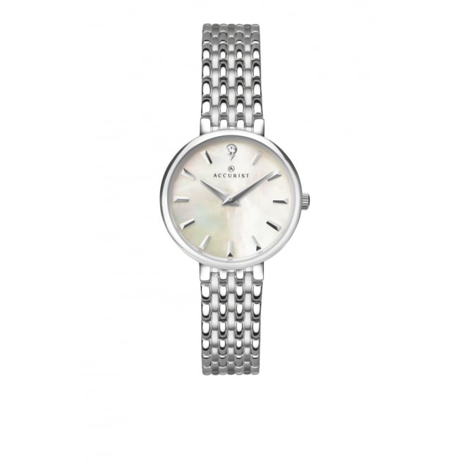 Accurist Ladies Round Mother of Pearl Dial with a Stainless Steel Bracelet
