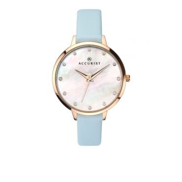 Ladies Round Mother of Pearl Swarovski Crystal Dial with a Pale Blue Strap