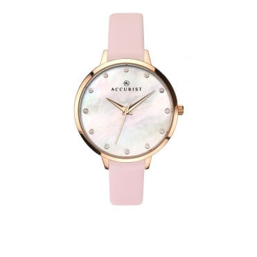 Ladies Round Mother of Pearl Swarovski Crystal Dial with a Pink Strap