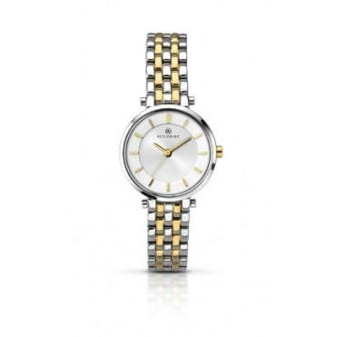Ladies Round Silver Dial with a 2 Colour Bracelet