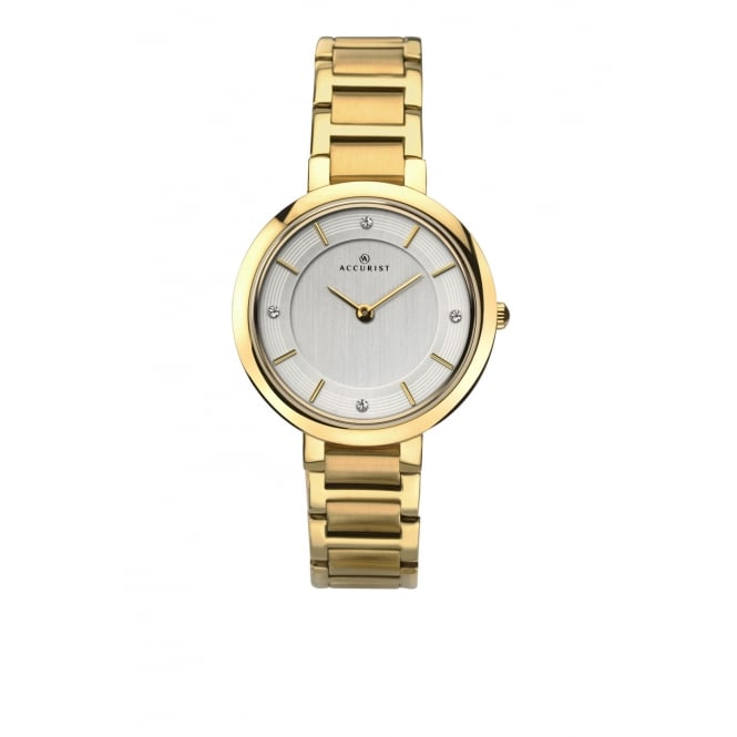 Accurist Ladies Round Silver Dial with a Gold Plated Bracelet