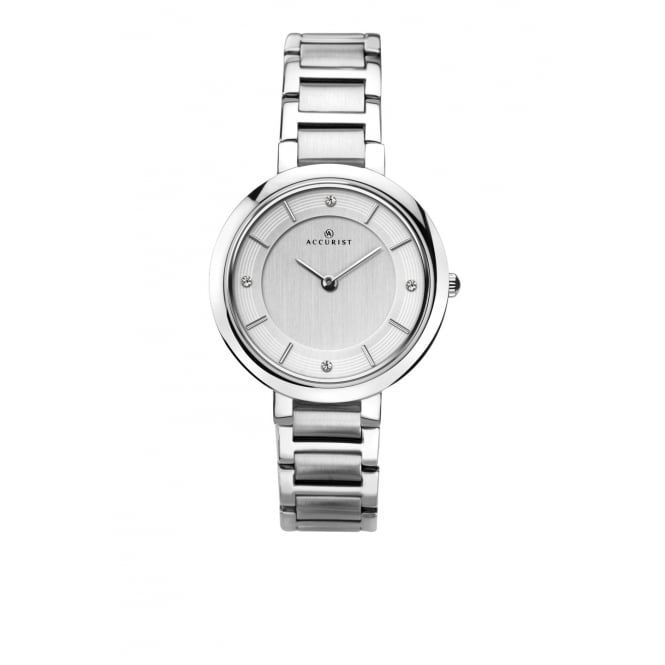 Accurist Ladies Round Silver Dial with a Stainless Steel Bracelet