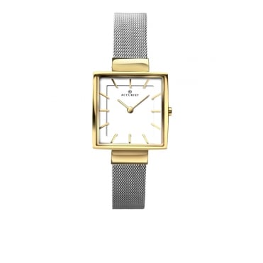 Ladies Square White Dial and Gold Plated Bezel with a Stainless Steel Mesh Bracelet