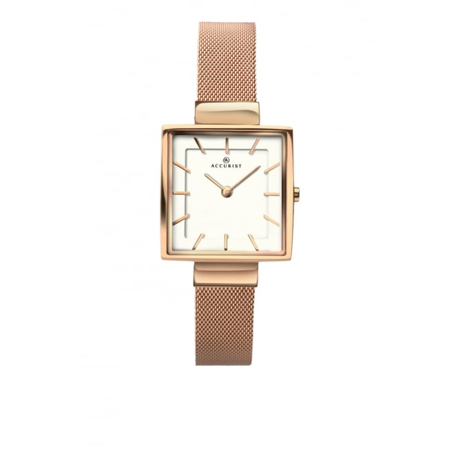 Accurist Ladies Square White Dial and Rose Bezel with a Rose Mesh Bracelet