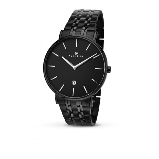 Accurist Mens Round Black Dial with a Black Bracelet