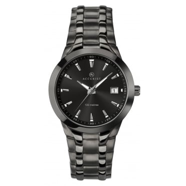 Mens Round Black Dial with a Black Bracelet