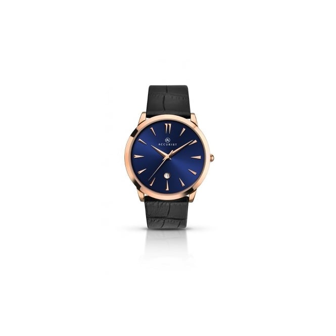 Accurist Mens Round Blue Dial and Rose Bezel with a Black Strap